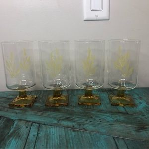 Set of 4 MCM footed wheat glasses